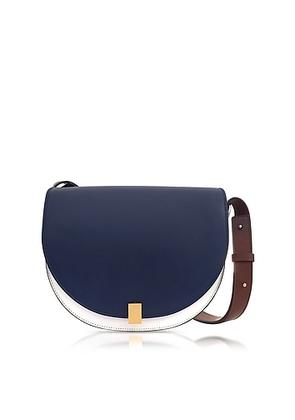 Victoria Beckham - Navy Blue White and Ebony Half Moon Box Shoulder Bag