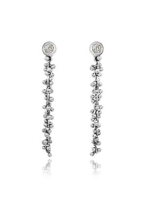 Orlando Orlandini - White Gold Cascade Drop Earrings w/Diamond