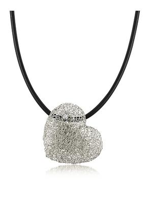 Orlando Orlandini - Woven White Gold Heart Pendant Necklace w/Diamond