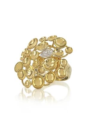 Orlando Orlandini - 18K Yellow Gold Large Bouquet Ring w/Diamond