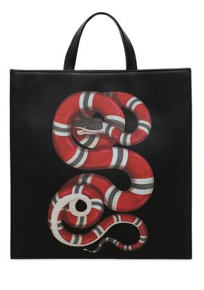 SNAKE PRINT GRAINED LEATHER TOTE BAG