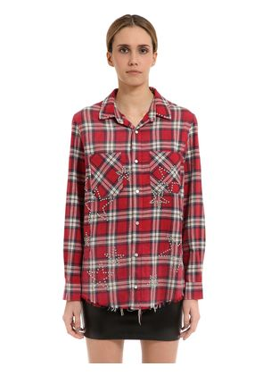 STARS EMBELLISHED CHECKED FLANNEL SHIRT