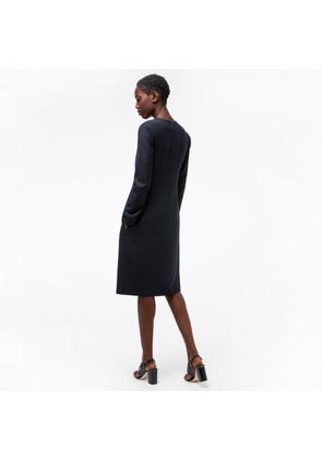 Women's Navy Wool-Twill Travel Dress