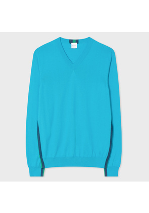 Men's Turquoise Pima-Cotton V-Neck Sweater With Contrast Side-Stripes