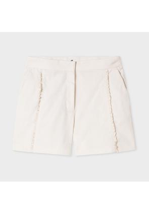 Women's Cream Cotton Shorts With Frills