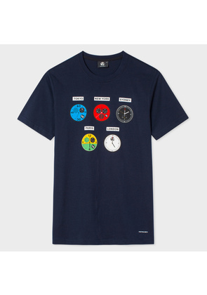 Men's Slim-Fit Navy 'Watches' Print Organic-Cotton T-Shirt