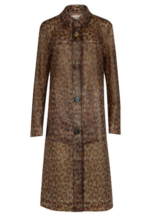 Leopard-print transparent rubberised raincoat