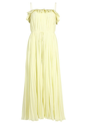 Lemon plissé midi dress