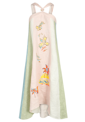 Embroidered halterneck linen dress