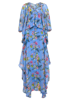Blue floral-print georgette maxi dress