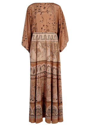 Brown printed silk maxi dress