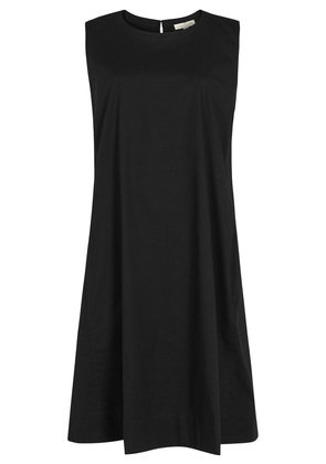 Black stretch poplin dress