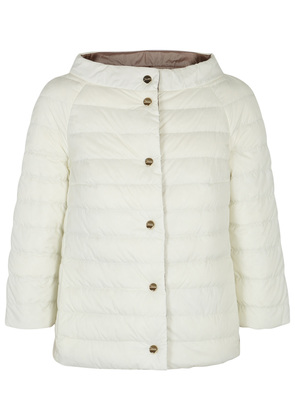 White reversible cropped quilted jacket