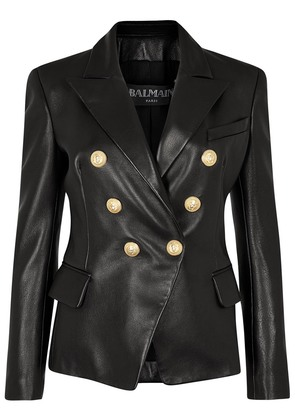 Black double-breasted leather jacket