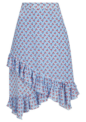 Maxwell blue cherry-print silk skirt
