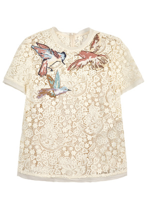 Ivory embroidered guipure lace top
