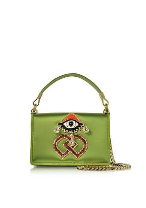 DSquared2 - Green Satin and Suede Shoulder Bag