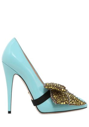 110MM ELAISA CRYSTALS BOW LEATHER PUMPS