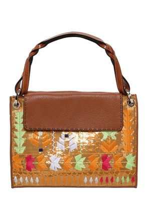 EMBROIDERED & SEQUINED LEATHER BAG