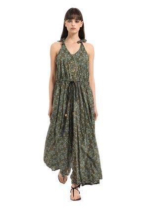 PRINTED COTTON VOILE MAXI JUMPSUIT