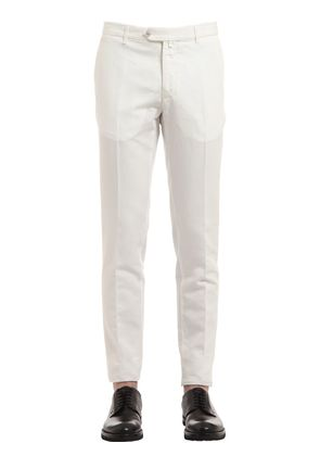 STRAIGHT COTTON & LINEN BLEND PANTS