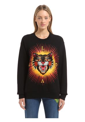 ANGRY CAT PATCH COTTON SWEATSHIRT