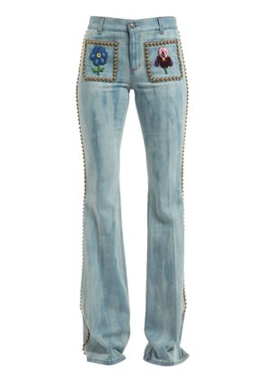 STUDDED & EMBROIDERED FLAIR DENIM JEANS