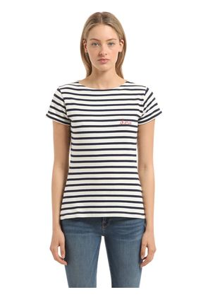 CHERIE EMBROIDERY STRIPED JERSEY T-SHIRT