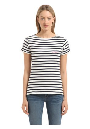 AMOUR EMBROIDERY STRIPED JERSEY T-SHIRT