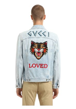 CAT PATCH STONE WASHED DENIM JACKET