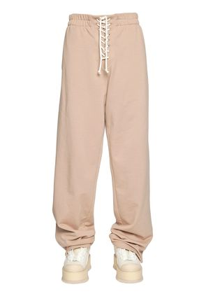 FRONT LACE-UP COTTON SWEATPANTS