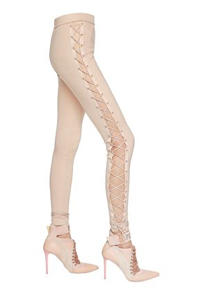 LACE-UP JERSEY LEGGINGS WITH SATIN TRIM