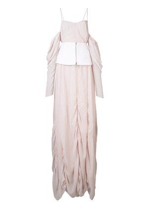 Vera Wang - off the shoulder draped gown - women - Silk - 0, Pink/Purple