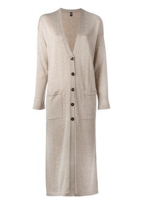 Eleventy - long cardigan - women - Silk/Merino - M, Nude/Neutrals