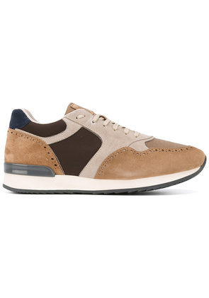 Eleventy - contrast panel sneakers - men - Leather/Polyamide/Polyester/rubber - 43, Brown