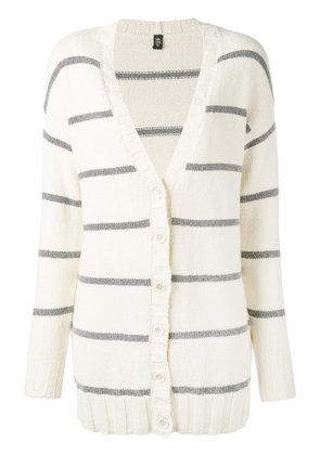 Eleventy - striped cardigan - women - Cotton/Polyamide - M, White