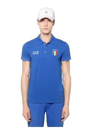 ITALIAN TEAM STRETCH COTTON JERSEY POLO