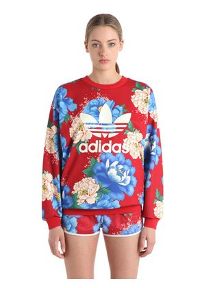 FLOWER PRINTED FRENCH TERRY SWEATSHIRT