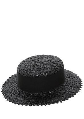 BRIGITTE SHINY BOATER STRAW HAT