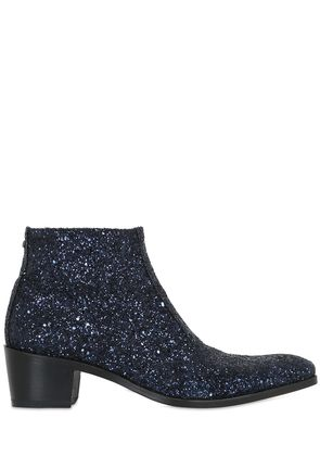 50MM GLITTERED LEATHER ANKLE BOOTS