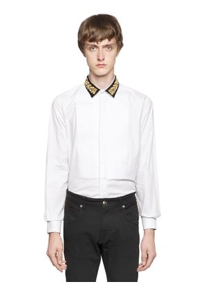 EMBROIDERED COLLAR COTTON POPLIN SHIRT