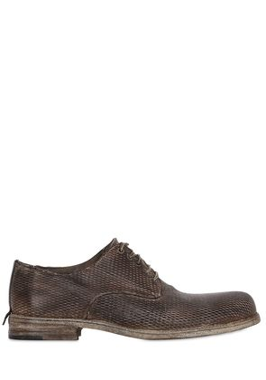 LASER-CUT WASHED LEATHER DERBY SHOES