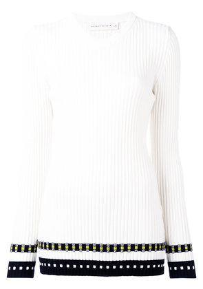 Victoria Beckham - ribbed long sleeve top - women - Polyamide/Spandex/Elastane/Wool - 3, Nude/Neutrals
