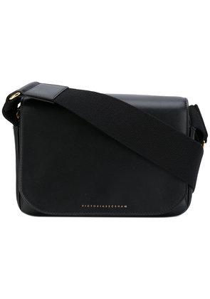Victoria Beckham - logo plaque satchel bag - women - Calf Leather/Viscose - One Size, Black