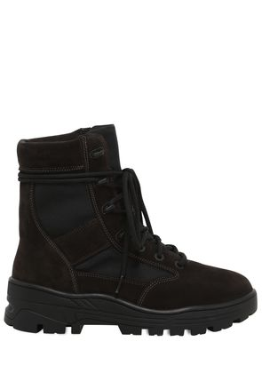 SUEDE & TECHNO CANVAS LACE- UP BOOTS