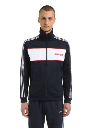 COLOR BLOCKED COTTON BLEND TRACK JACKET