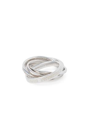 Vivienne Westwood Sterling Silver Dustin Ring White CZ/ Enamel Size XS