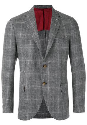 Eleventy - checked blazer - men - Linen/Flax/Wool/Silk/Cupro - 54, Grey