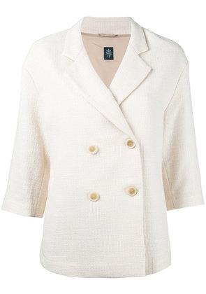 Eleventy - double-breasted blazer - women - Cotton/Polyamide/Acrylic/Viscose - 44, Nude/Neutrals